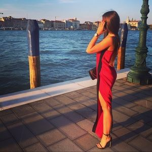 Pinko long red dress